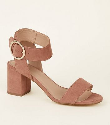 Girls Pink Suedette Circle Buckle Sandals