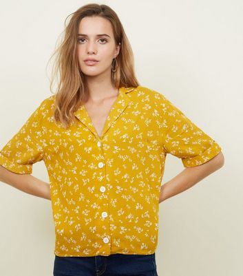 Yellow Ditsy Floral Boxy Shirt