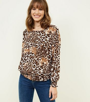 Blue Vanilla Brown Animal Print Shirred Hem Top New Look 2018 Newest Sale Online Best Place For Sale Collections For Sale Discount Codes Really Cheap E6WEUb
