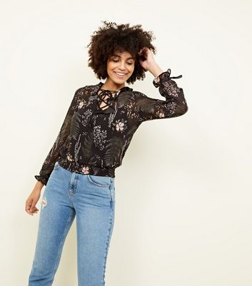 Blue Vanilla Black Floral Palm Print Lattice Top