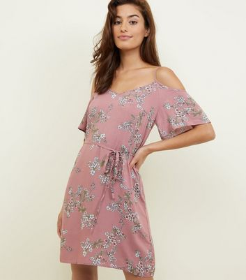Apricot Lilac Floral Cold Shoulder Dress