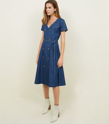 Blue Rinse Wash Double Breasted Denim Midi Dress