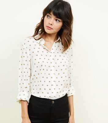 White Butterfly Print Long Sleeve Shirt