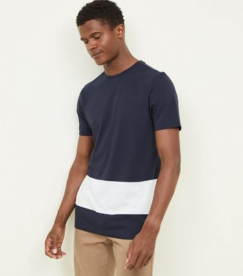 Navy White Block Stripe T-Shirt