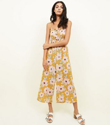 Yellow Floral Shirred Button Front Jumpsuit