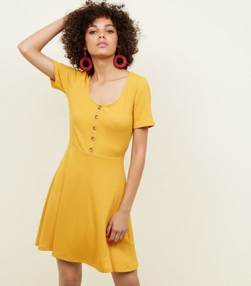 Mustard Ribbed Button Front Skater Dress