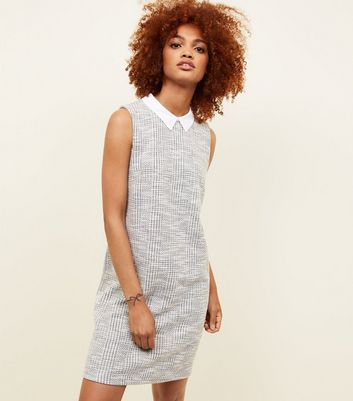 Grey Jacquard Sleeveless Tunic Dress