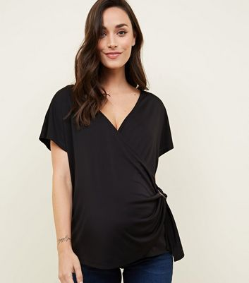 Maternity Black Wrap Buckle Top