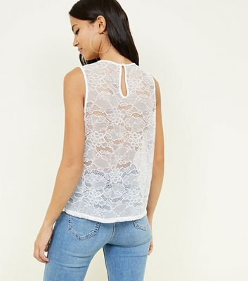 Off White Sleeveless Lace Top