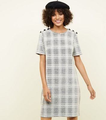 Grey Bouclé Check Button Shoulder Tunic Dress