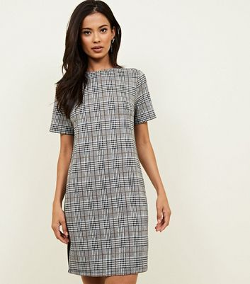 Grey Check Side Stripe Jersey Tunic Dress