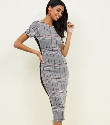 Grey Check Side Stripe Bodycon Midi Dress