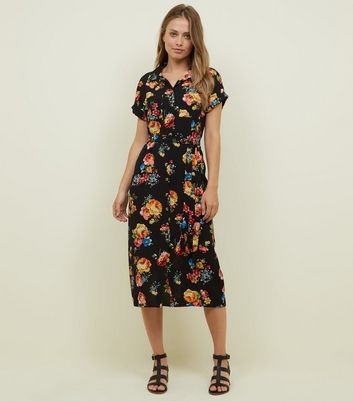 Black Floral Belted Midi Shirt Dress
