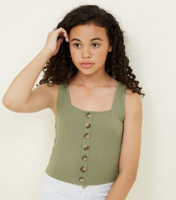 Girls Khaki Button Front Ribbed Vest