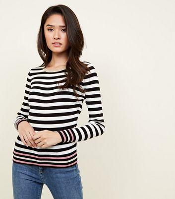Black Stripe Contrast Tipping Jumper