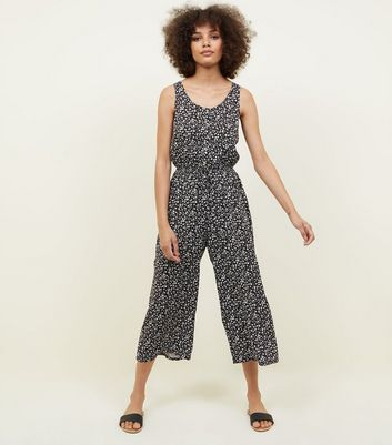 Black Ditsy Floral Button Front Culotte Jumpsuit