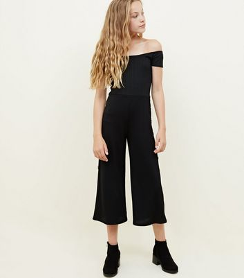 Girls Black Ribbed Button Side Jumpsuit