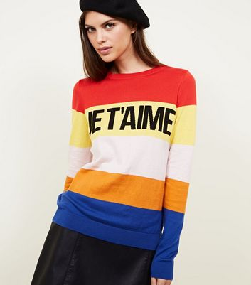 Rainbow Stripe Je T'aime Slogan Jumper
