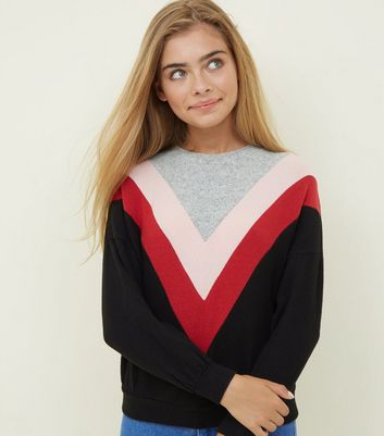 Girls Black Chevron Jumper