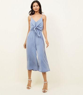 Pale Blue Tie Front Linen-Look Jumpsuit