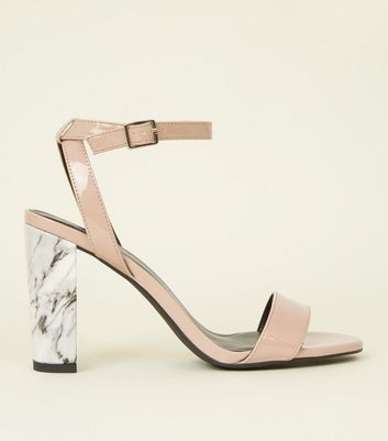 Nude Marble Effect Block Heel Sandals by New Look