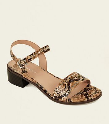 Brown Faux Snake Studded Low Block Heel Sandals