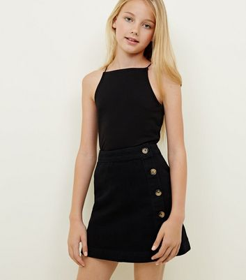 Girls Black Button Front Wrap Skirt
