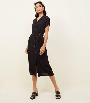 Robe Chemise Mi Longue Noire Boutonnée à L'avant Et à Ceinture by New Look