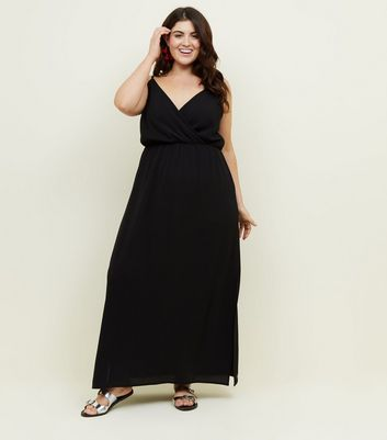 Curves Black Strappy Maxi Dress