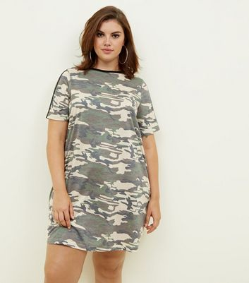 Curves Khaki Camo Print T-Shirt Dress