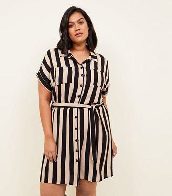 Curves Black Stripe Tie Waist Shirt Dress