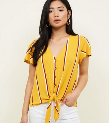 Petite Stripe Button Through Tie Front T-Shirt