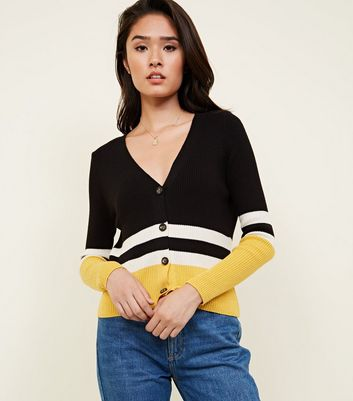 Black Ribbed Stripe Cardigan