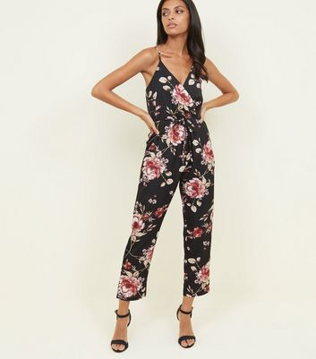 Mela Black Floral Wrap Front Jumpsuit