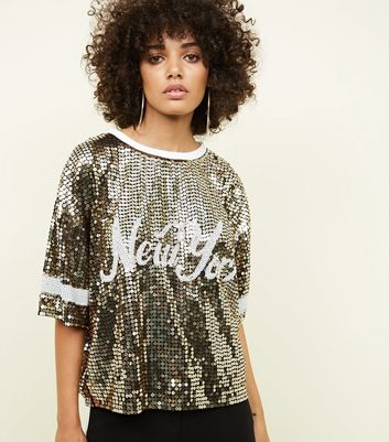 Gold New York Sequin T-Shirt