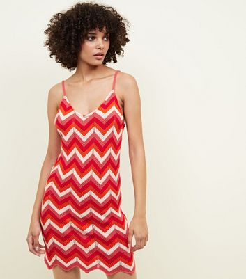 QED Red Zig Zag Knitted Dress