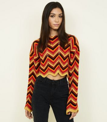 QED Orange Zig Zag Knit Cropped Jumper