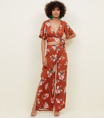 Rust Floral Slinky Split Wide Leg Trousers