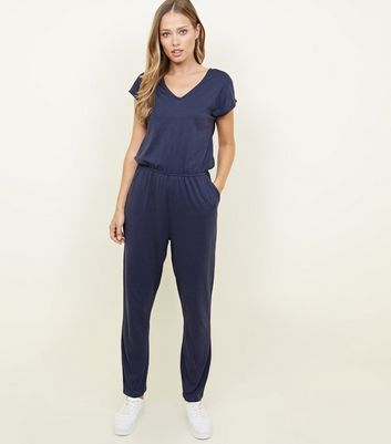 Navy Cap Sleeve Jersey Jumpsuit by New Look