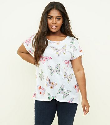 Blue Vanilla Curves Pink Butterfly Print T-Shirt