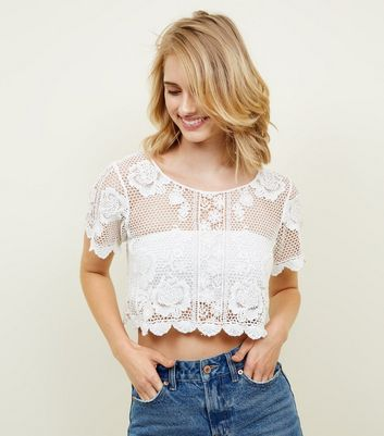 Cameo Rose Cream Floral Crochet Scallop Hem Top