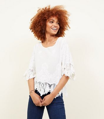 Cameo Rose Cream Crochet Trim Top by New Look