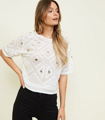Cameo Rose White Geometric Sequin and Bead Top