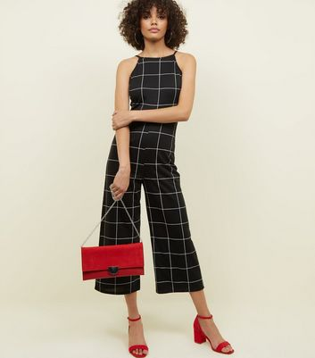 Black Check High Neck Culotte Jumpsuit