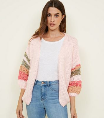 Pink Stripe Sleeve Knit Cardigan