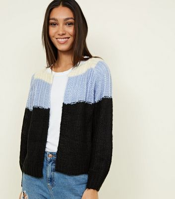 Blue Colour Block Yoke Cardigan