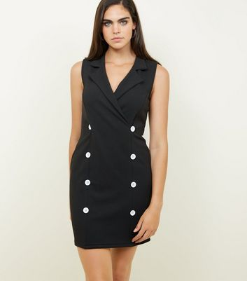 Black Double Breasted Sleeveless Dress