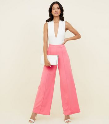 Bright Pink Pintuck Wide Leg Trousers