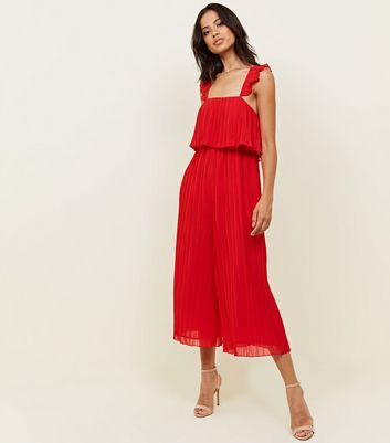 Red Pleated Chiffon Party Jumpsuit by New Look