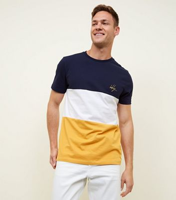 Yellow Colour Block Brooklyn Embroidered T-Shirt